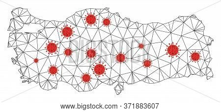 Polygonal Mesh Turkey Map With Coronavirus Centers. Abstract Network Lines, Triangles And Flu Viruse