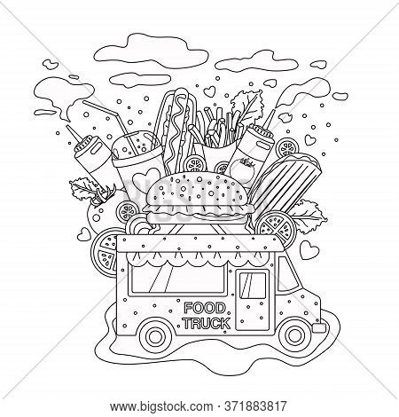 Outlined Vector Doodle Anti-stress Coloring Book Page Fast Food Truck . For Adults And Children. Iso