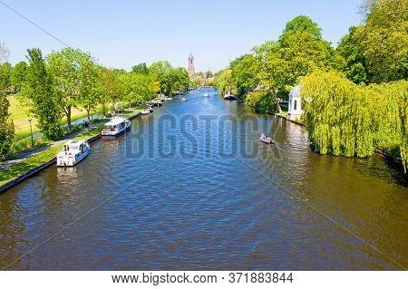 Aerial from the river Vecht with Loenen aan de Vecht in the Netherlands