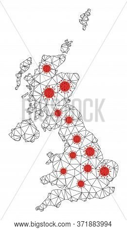 Polygonal Mesh United Kingdom Map With Coronavirus Centers. Abstract Network Lines, Triangles And Co