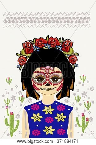 Holiday In Mexico Day Of The Dead. Portrait Of A Girl With Characters On Her Face. Body Art. On The