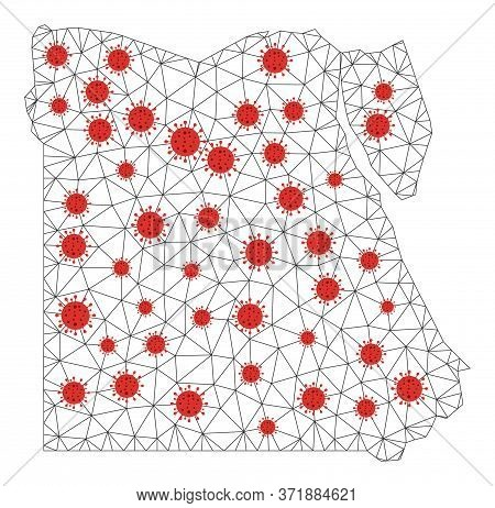 Polygonal Mesh Egypt Map With Coronavirus Centers. Abstract Mesh Lines, Triangles And Covid Viruses