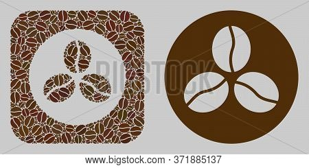 Mosaic Coffee Beans From Coffee Beans And Basic Icon. Negative Space Mosaic Coffee Beans Is Designed