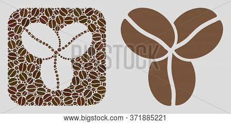 Mosaic Coffee Beans Of Coffee Beans And Basic Icon. Hole Mosaic Coffee Beans Is Created Of Coffee Se