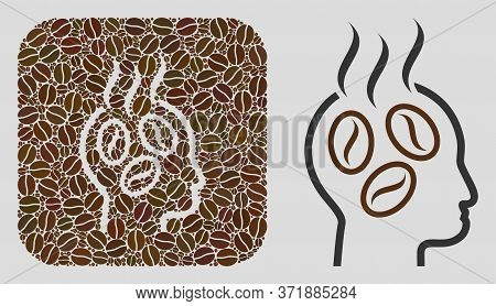 Mosaic Coffee Dreams Head Of Coffee Beans And Basic Icon. Negative Space Mosaic Coffee Dreams Head I