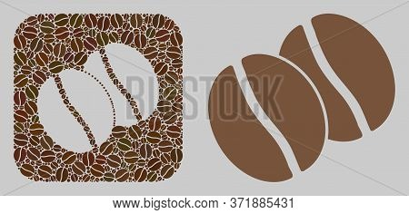 Mosaic Coffee Beans From Coffee Beans And Basic Icon. Stencil Mosaic Coffee Beans Is Designed With C