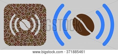 Mosaic Coffee Wifi Spot From Coffee Beans And Basic Icon. Hole Mosaic Coffee Wifi Spot Is Composed F