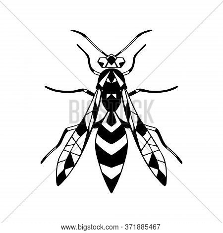 Vector Icon Insect-wasp .black Vector Icon . Isolated Background.