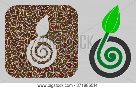 Mosaic Bud Sprout From Coffee Beans And Basic Icon. Subtraction Mosaic Bud Sprout Is Created From Co
