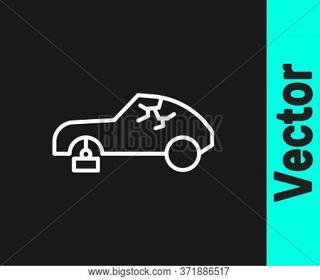 White Line Broken Car Icon Isolated On Black Background. Car Crush. Vector
