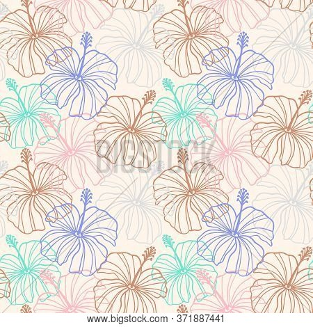 Hibiscus Flower Seamless Pattern. Tropical Hawaiian Floral Seamless Pattern.