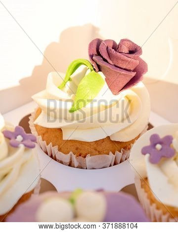 Paper Box With Cupcakes. Holiday Cupcakes With Sugar Rose And Buttercream. Cupcakes Packaging, Deliv