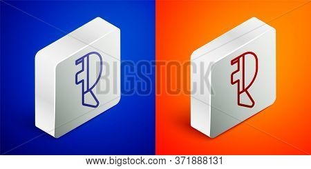 Isometric Line Fencing Helmet Mask Icon Isolated On Blue And Orange Background. Traditional Sport De