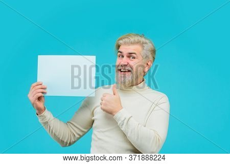Sale. Discount. Advertising Banner. Man With Blank Board. Man Shows Empty Board. Space For Your Text