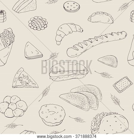 Seamless Vector Background Of Their Baking Objects In The Form Of Hand-drawn Pictures, Baguette, San