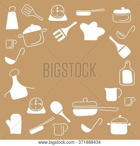 Cooking Food Frame Template For Food With Cutlery, Kitchen Accessories. Doodle Style, Hand Drawn Cut