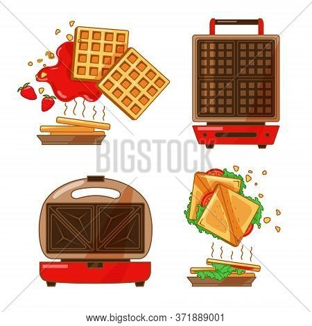 Colorful Set Of Kitchen Appliances. Sandwich And Waffle Maker On An Isolated Background. Sandwiches