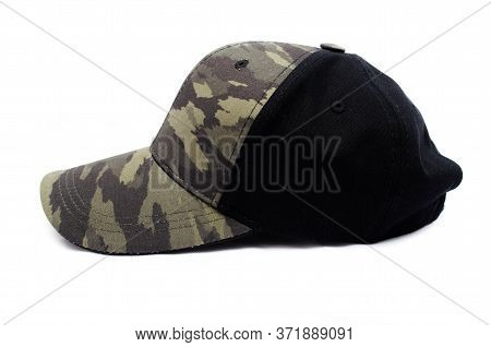 Men's Two-tone Cap On A White Background. The Baseball Cap Is Black At The Back, Front And Visor Of