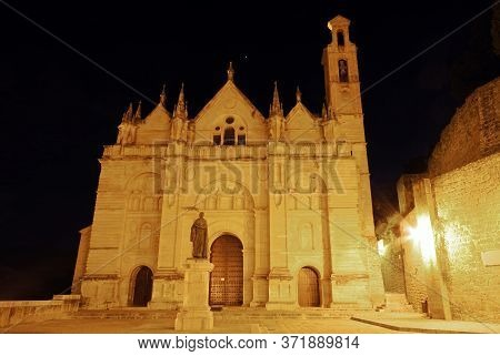 Santa Maria Church In The Plaza De Santa Maria At Night, Antequera, Malaga Province, Andalucia, Spai