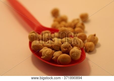 Uncooked White Chickpeas On Spoon In Kitchen White Chickpeas Are Important Food Ingredient