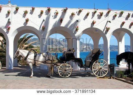 Horse Drawn Carriages Along The Balcony Of Europe (balcon De Europa), Nerja, Costa Del Sol, Malaga P