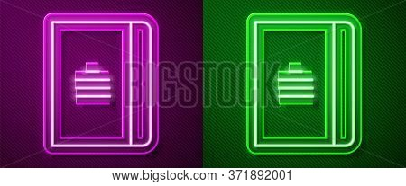 Glowing Neon Line Notebook Icon Isolated On Purple And Green Background. Spiral Notepad Icon. School