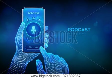 Podcast. Podcasting Concept. Internet Digital Recording, Online Broadcasting. Audio Blog. Radio Prog