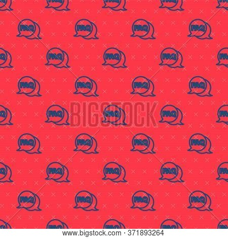 Blue Line Speech Bubble With Text Faq Information Icon Isolated Seamless Pattern On Red Background.