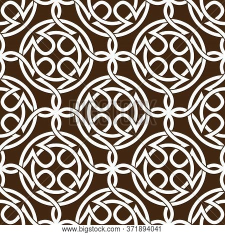 Celtic Knot Seamless Pattern. Abstract Ornament. Art Black Line Vector Illustration.