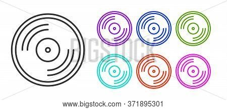 Black Line Vinyl Disk Icon Isolated On White Background. Set Icons Colorful. Vector