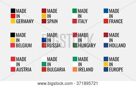 Vector Logo Set Made In Germany, France, Italy, Spain, Belgium, Russia, Holland, Austria, Hungary, I