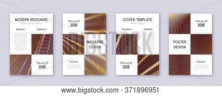 Business Brochure Design Template Set. Gold Abstract Lines On Bordo Background. Adorable Brochure De