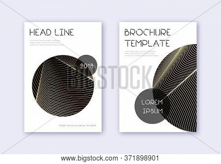 Trendy Cover Design Template Set. Gold Abstract Lines On Black Background. Flawless Cover Design. Gl