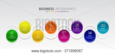 Creative Infographic Vector Illustration In The Form Of Wave With 8 Options And Icons On The Backgro
