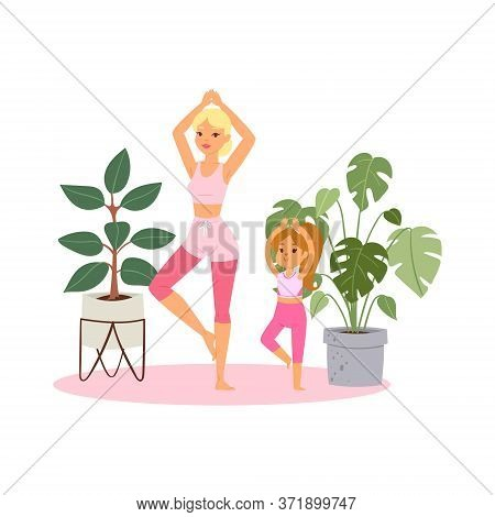 Illustration, Girl Practices Yoga At Home, Relaxing Pose For Meditation, Healthy Lifestyle, Cartoon
