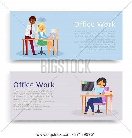 Inscription Office Work, Set Banners, Convenient Workplace, Website Reference Information, Cartoon S