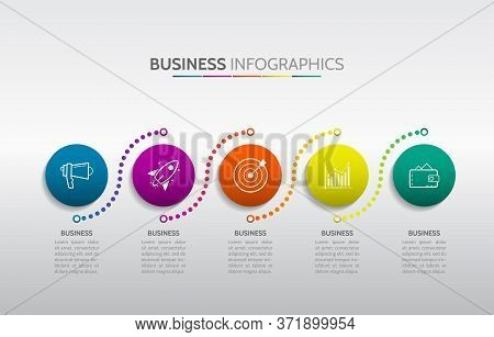 Template Timeline Infographic Colored Horizontal Numbered For 5 Position Can Be Used For Workflow, B