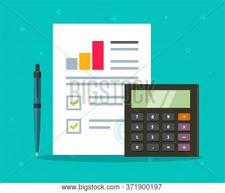 Accounting Audit Paper Report With Sales Stats Research Growth Graphs And Calculator Vector Flat Car