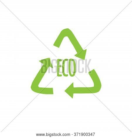Vector Hand Drawn Doodle Sketch Recycle Reuse Eco Green Symbol Isolated On White Background