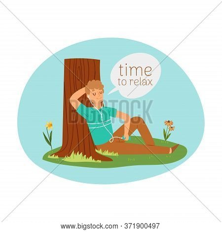 Time To Relax, Vacation Concept, Fashionable Outdoor Recreation, Young Man Listening To Music, Carto