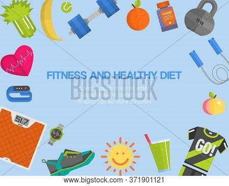 Fitness, Gym, Cardio, Healthy Diet And Lifestyle Advertising Poster With Weight Scales, Sport Wear A