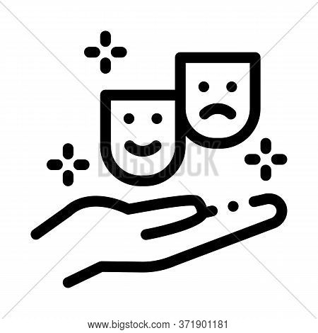 Masks Of Joy And Sadness On Hand Icon Vector. Masks Of Joy And Sadness On Hand Sign. Isolated Contou