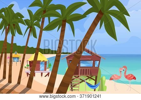 Beach Bugalow, Home Background, Vector Illustration. Summer Travel In House Building At Flat Seaside