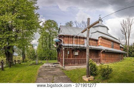 Rabe, Poland - May 27,2020: Greek Catholic Church Of St. Nicholas In Rabe. Currently A Roman Catholi