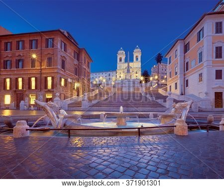 Staircase Spanish Steps And And Trinita Dei Monti Church. Beautiful Evening View From Piazza Di Spag