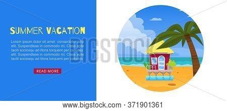Summer Vacation, Holiday Design Vector Illustration. Travel To Sea Beach, Tropical Nature Banner. Bu