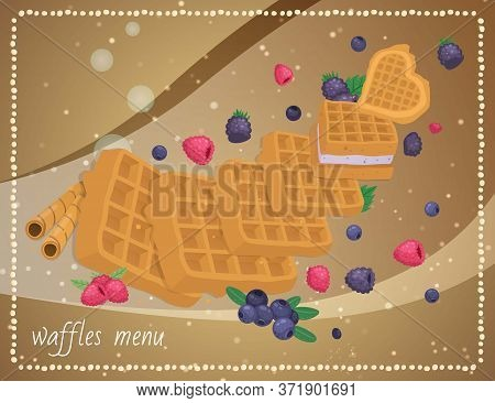 Cafe Dessert Banner, Food Waffle Menu, Vector Illustration. Wafer Breakfast Pastry With Sweet Strawb