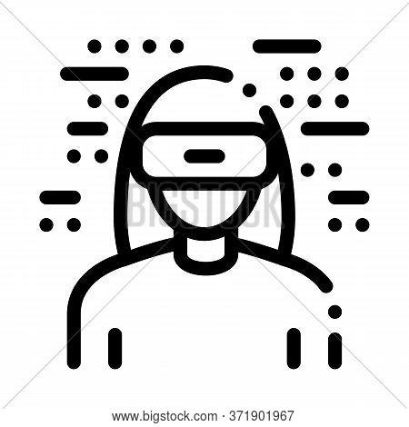 Woman Wearing Virtual Reality Glasses Icon Vector. Woman Wearing Virtual Reality Glasses Sign. Isola