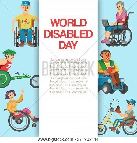 Disability Flat World Day, Vector Illustration. Disabled People Character In Wheelchair Banner, Hand