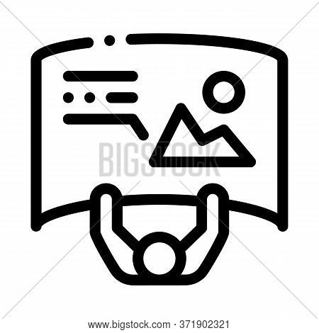 Man With Detailed Posters Top View Icon Vector. Man With Detailed Posters Top View Sign. Isolated Co
